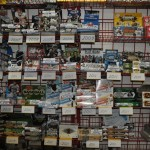 Sports cards behind homeplate at Fantasy Books and Games