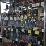Comic character statues at Fantasy Books and Games